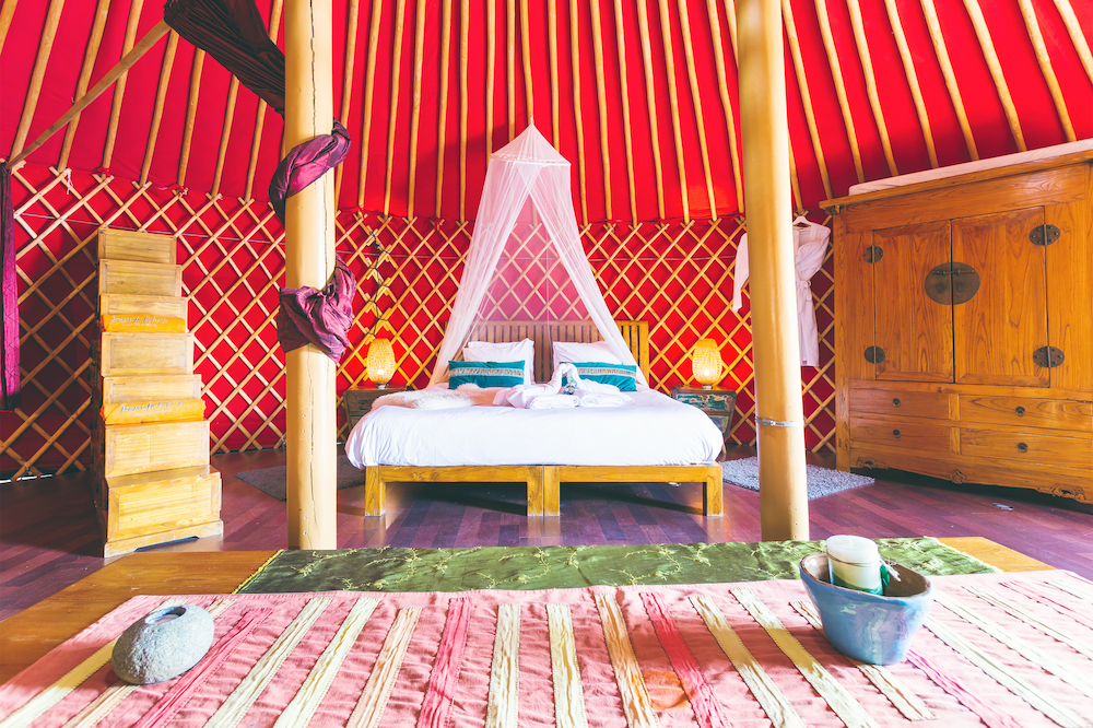 Eco Yurt Suite interior of yurt bedroom