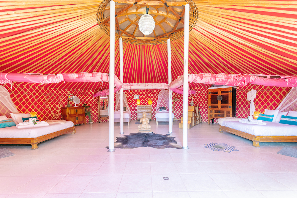 Eco Yurt Royale curtained bedroom areas