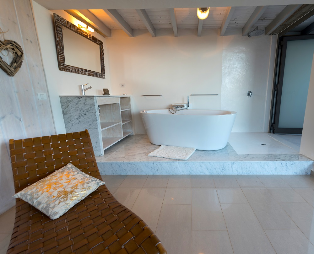 Bath in master bedroom suite, Casa Volcan, Lanzarote