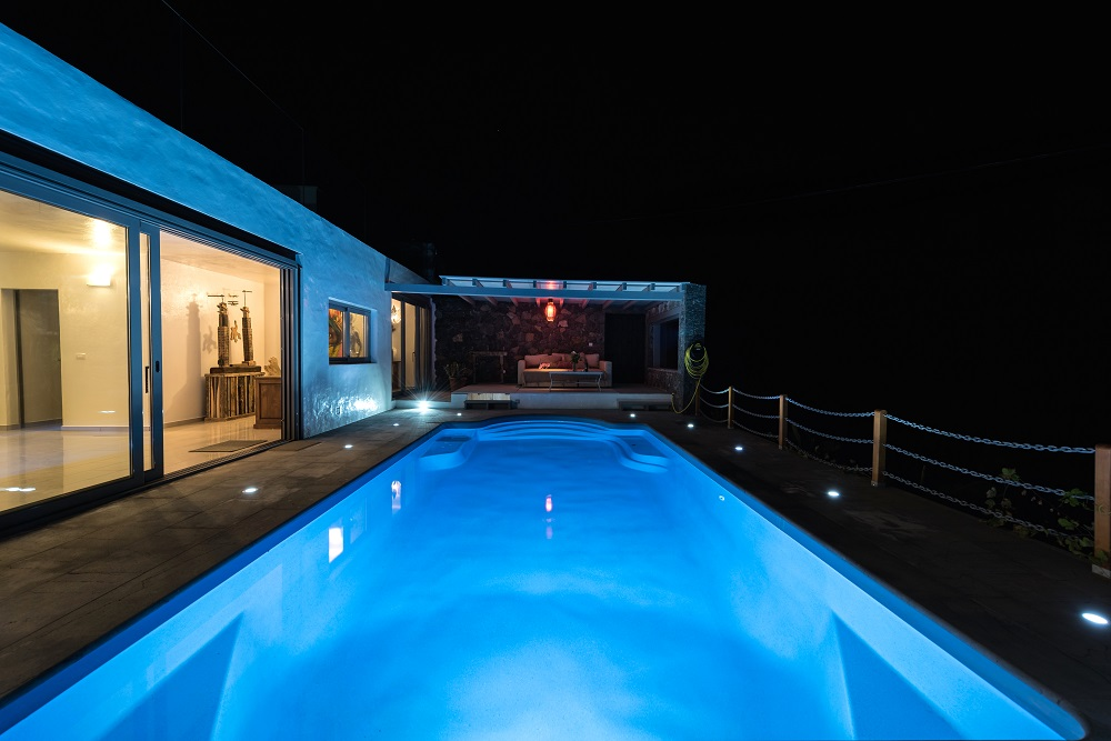 Pool by night, Casa Volcan Lanzarote