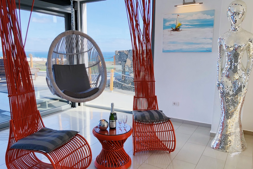 Swing Chair in Sitting Room Sea Views