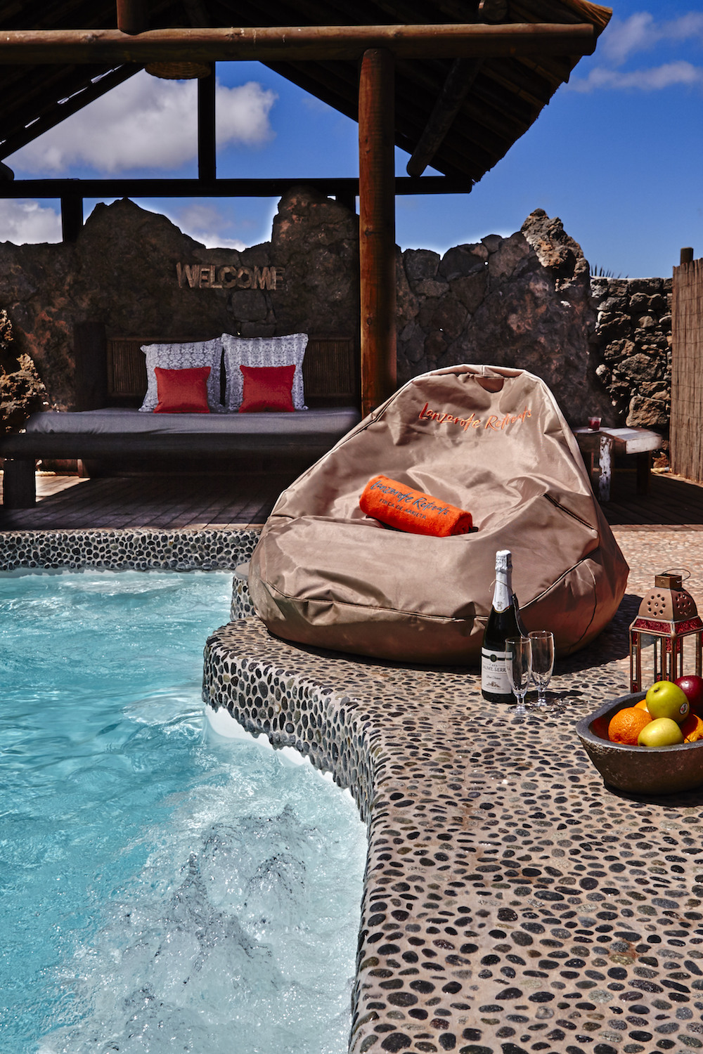 Solar heated private plunge pool, a great place to relax and soak up the sun