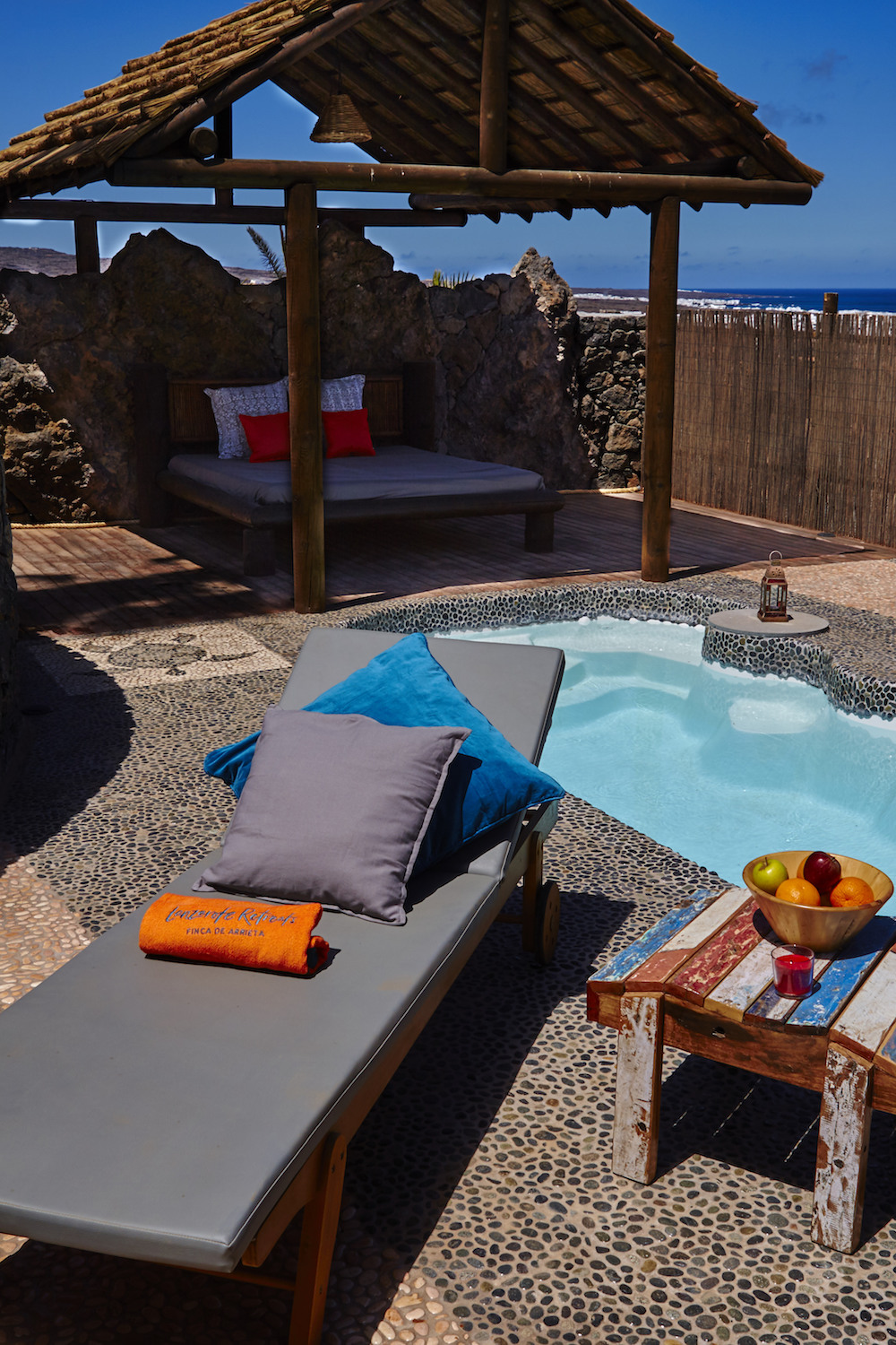 Solar heated private plunge pool, with great sea views and shaded day bed