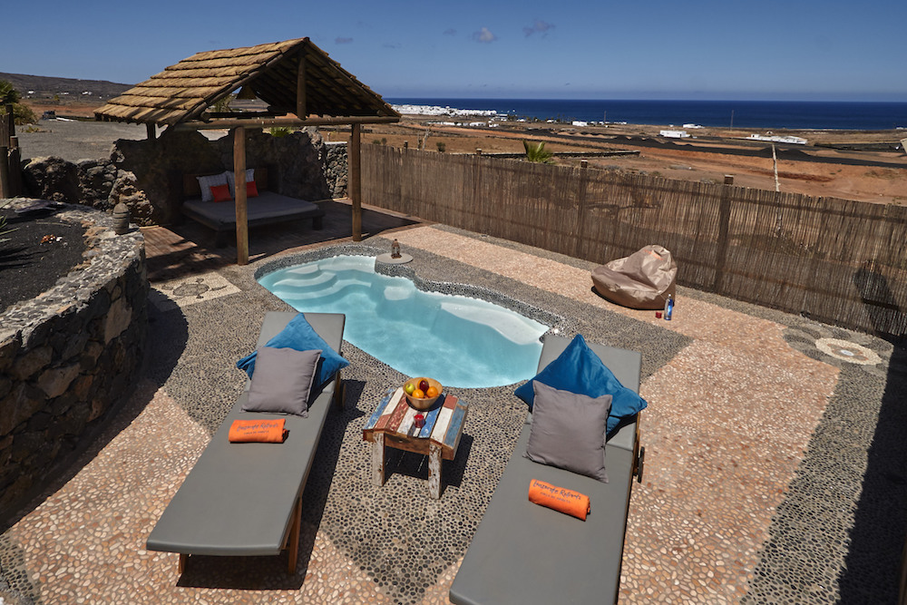 Solar heated private plunge pool, with great sea views