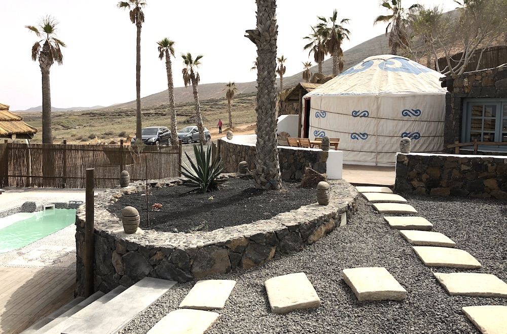 Path from yurt to gated pool area