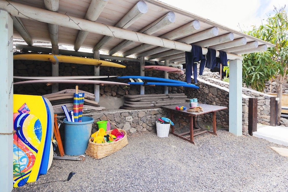 Surf storage at Finca De Arrieta