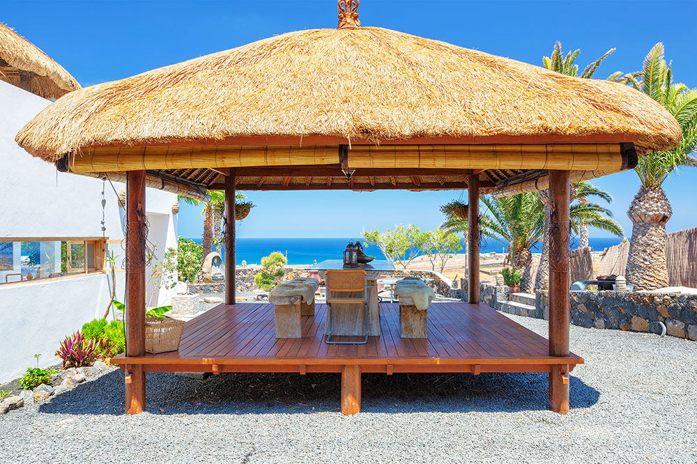 Dining Gazebo with sea views s at Villa Palacio + Yurt